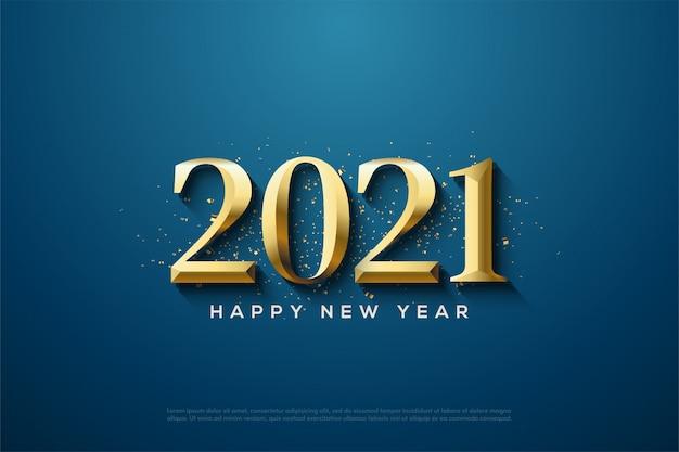 Gelukkig nieuwjaar 2021 met klassieke gouden cijfers en gouden stukjes papier die worden verspreid