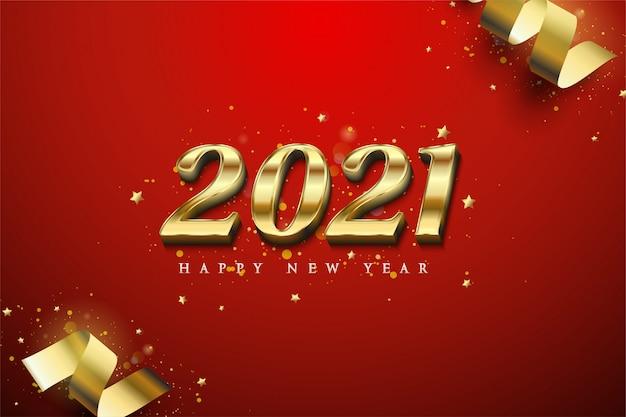 Gelukkig nieuwjaar 2021 met lichtgevende 3d gouden cijfers.