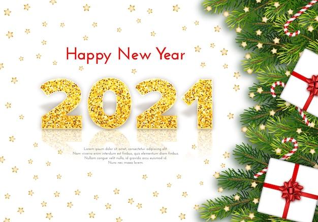 Gelukkig nieuwjaar 2021 met reflectie en schaduw op witte achtergrond