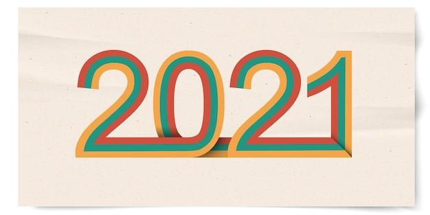 Gelukkig nieuwjaar 2021 met retro lijnen, 3d papierkunst.
