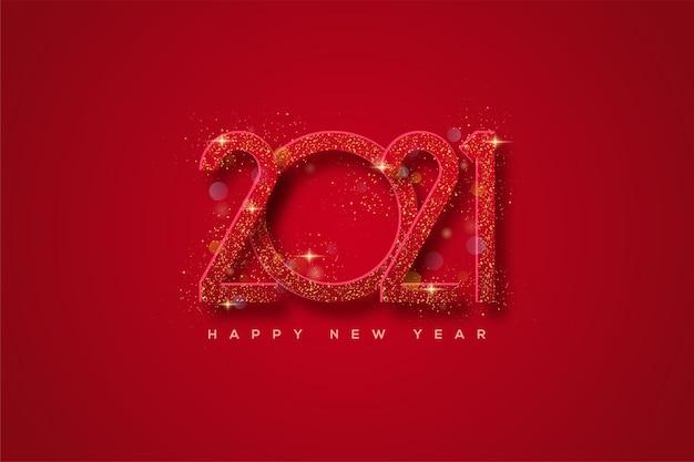 Gelukkig nieuwjaar 2021 met rode cijfers met gouden glitters.