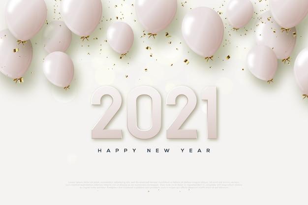 Gelukkig nieuwjaar 2021 met roze cijfers en roze ballonnen.