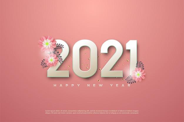 Gelukkig nieuwjaar 2021 met vrouwelijke roze cijfers en 3d roze bloemen