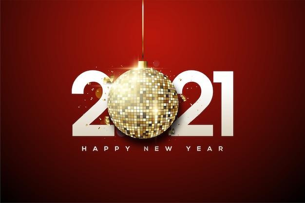 Gelukkig nieuwjaar 2021 met witte cijfers en gouden discoballen.