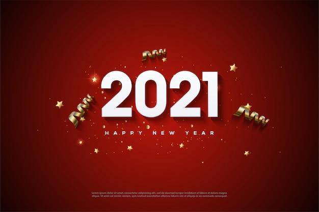 Gelukkig nieuwjaar 2021 met witte cijfers in reliëf op een rode achtergrond