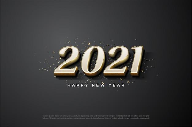 Gelukkig nieuwjaar 2021 met witte cijfers met 3d-gouden strepen
