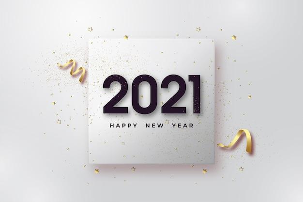 Gelukkig nieuwjaar 2021 met zwarte cijfers op transparant glas.
