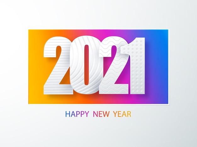 Gelukkig nieuwjaar 2021 omslag ontwerp van papieren kunstomslag. gelukkig nieuwjaar 2021 tekst