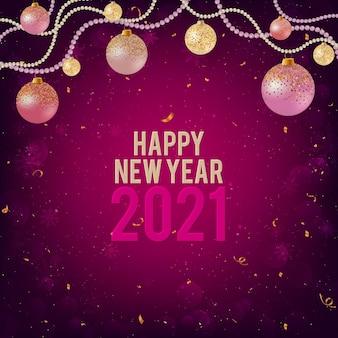 Gelukkig nieuwjaar 2021 paarse achtergrond met kerstballen