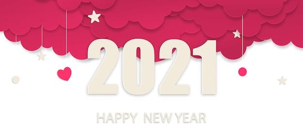 Gelukkig nieuwjaar 2021 papierkunststijl, nieuwjaar 2021