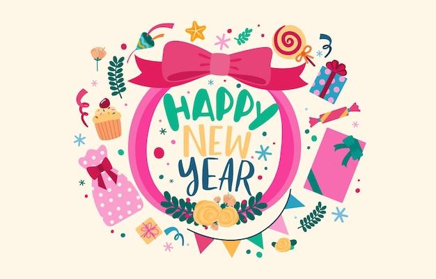 Gelukkig nieuwjaar 2021 party poster of banner met pictogrammen van de geschenkdoos