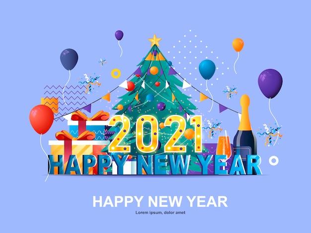 Gelukkig nieuwjaar 2021 platte concept met hellingen illustratie sjabloon