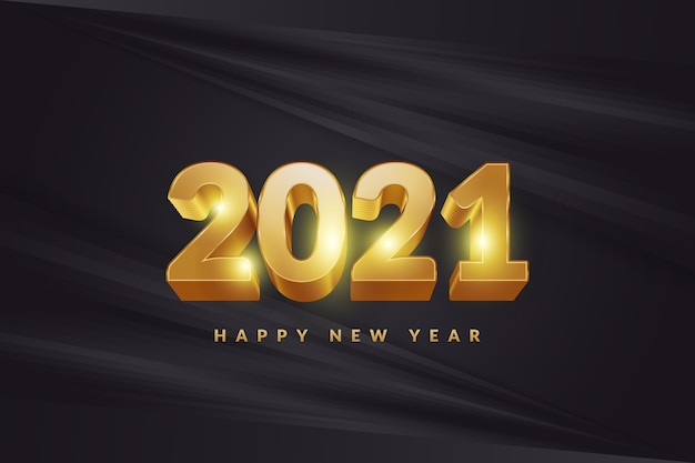 Gelukkig nieuwjaar 2021 spandoek of poster met 3d gouden cijfers op elegante zwarte achtergrond