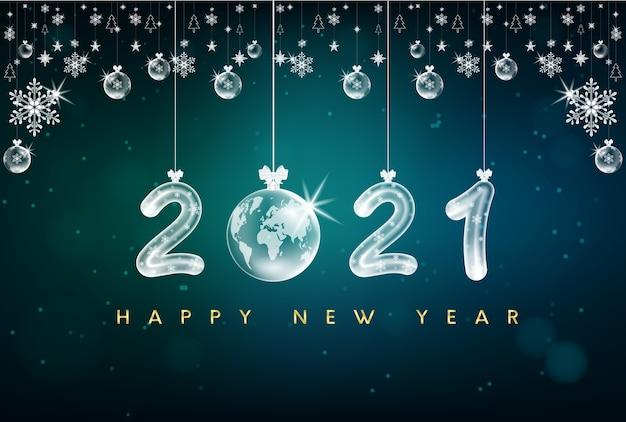 Gelukkig nieuwjaar 2021 tekstontwerp. met gouden cijfers en sneeuwvlok.