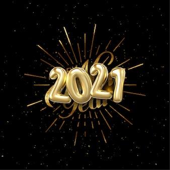 Gelukkig nieuwjaar 2021. vakantie illustratie met belettering samenstelling en burst. gouden getextureerde vintage label
