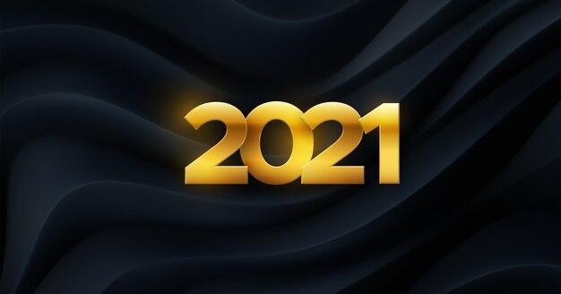 Gelukkig nieuwjaar 2021. vakantie illustratie. papercut gouden nummers op zwarte geometrische