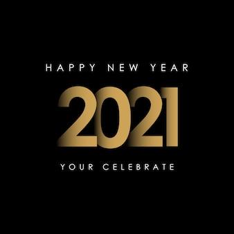 Gelukkig nieuwjaar 2021 viering sjabloon illustratie