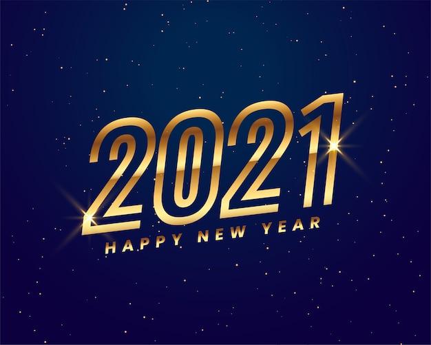 Gelukkig nieuwjaar 2021 wenskaart met gouden glanzende cijfers 2021