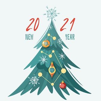 Gelukkig nieuwjaar 2021, wenskaart met versierde kerstboom met glazen bollen, sneeuwvlokken en slingers