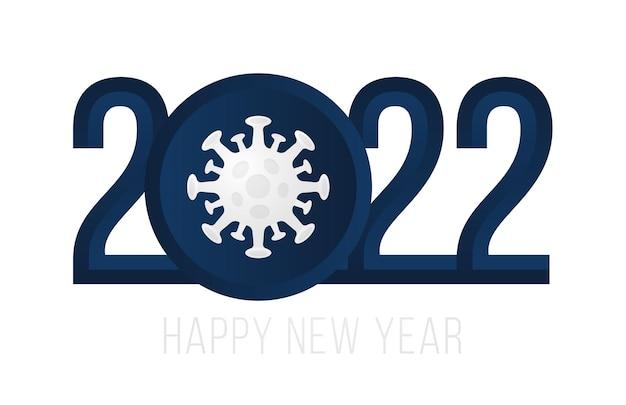 Gelukkig nieuwjaar 2022. 2022 met realistische viruspictogram vectorillustratie