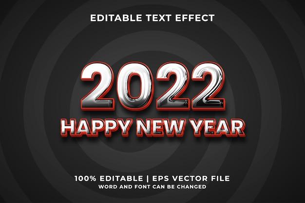 Gelukkig nieuwjaar 2022 3d bewerkbaar teksteffect premium vector