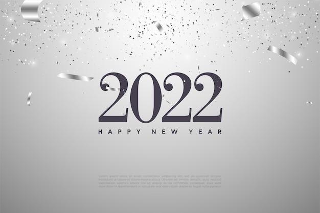 Gelukkig nieuwjaar 2022 achtergrond met cijfers en zilverfolie