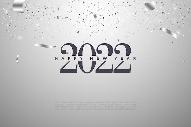 Gelukkig nieuwjaar 2022 achtergrond met cijfers en zilverfolie Premium Vector