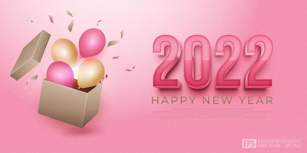 Gelukkig nieuwjaar 2022 achtergrond met geschenkdozen en ballonnen