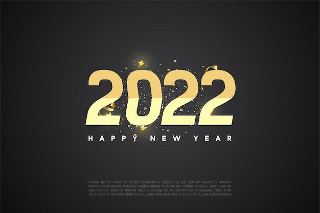 Gelukkig nieuwjaar 2022 achtergrond met gesorteerde nummers