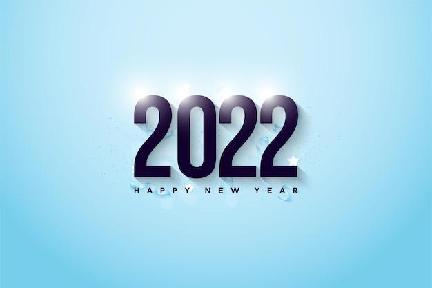 Gelukkig nieuwjaar 2022 achtergrond met glanzende cijfers Premium Vector