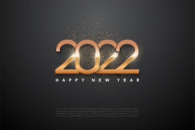 Gelukkig nieuwjaar 2022 achtergrond met gloeiende cijfers
