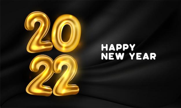 Gelukkig nieuwjaar 2022 achtergrond met gouden ballonnen nummers