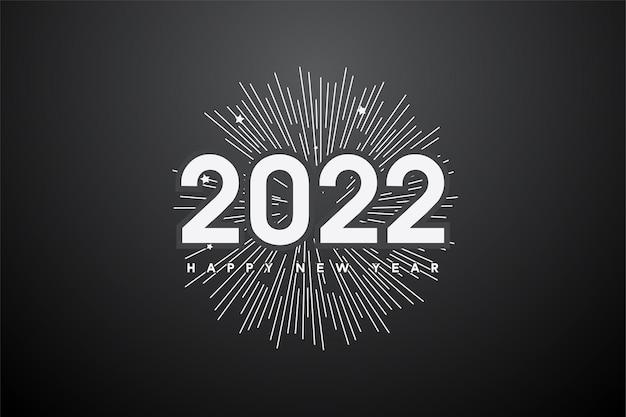 Gelukkig nieuwjaar 2022 achtergrond met lijntekening