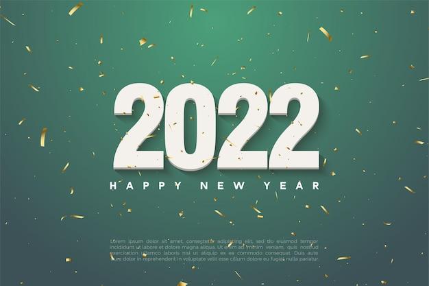 Gelukkig nieuwjaar 2022 achtergrond met nummers op groene achtergrond