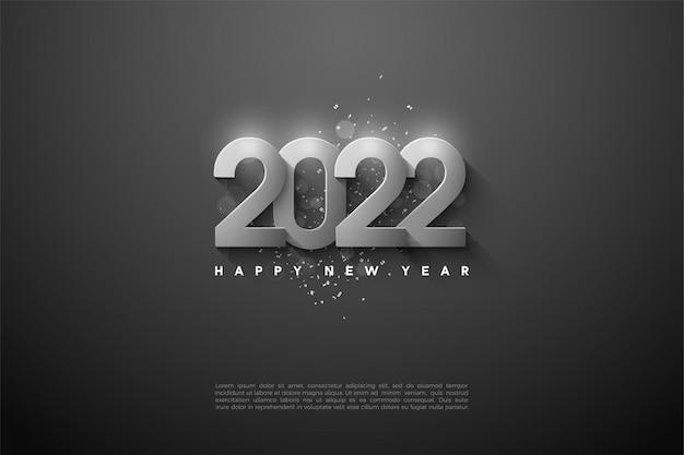 Gelukkig nieuwjaar 2022 achtergrond met overlappende zilveren cijfers Premium Vector