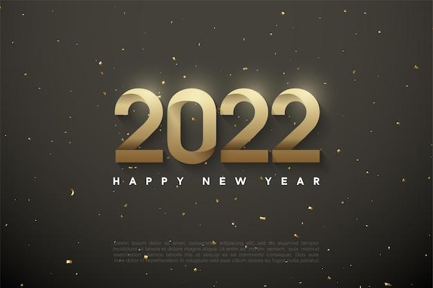 Gelukkig nieuwjaar 2022 achtergrond met patroonnummers