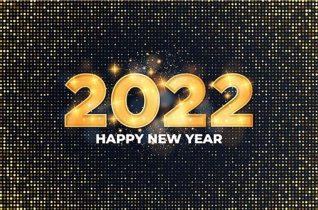 Gelukkig nieuwjaar 2022 achtergrond met realistische gouden ballonnen