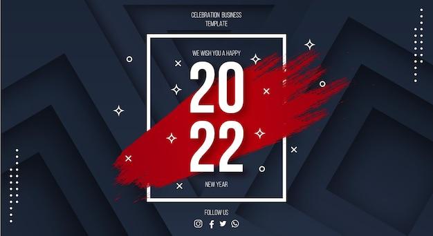 Gelukkig nieuwjaar 2022 achtergrond met rode penseelstreek