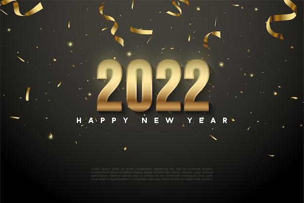 Gelukkig nieuwjaar 2022 achtergrond met vallend gouden lint