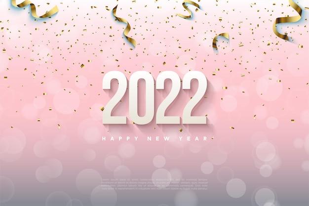 Gelukkig nieuwjaar 2022 achtergrond met zachte gearceerde nummers