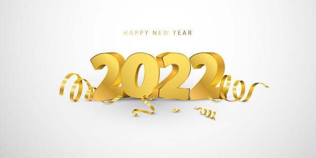 Gelukkig nieuwjaar 2022 achtergrond. wenskaart ontwerpsjabloon gouden confetti. vier brochure of flyer.