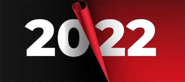 Gelukkig nieuwjaar 2022 banner achtergrond met papier pagina-ontwerp