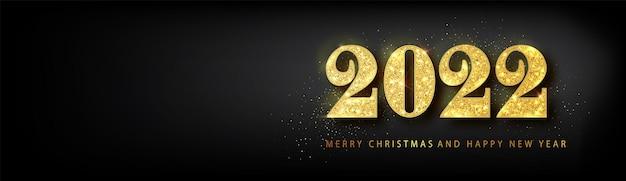 Gelukkig nieuwjaar 2022 banner. gouden vector luxe tekst 2022 gelukkig nieuwjaar. gouden feestelijke nummers ontwerp. gelukkig nieuwjaar banner met 2022 nummers.