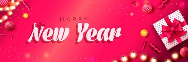 Gelukkig nieuwjaar 2022 banner kerstmis roze achtergrond met geschenkdoos slinger feestelijke ballen