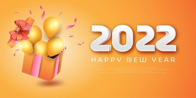 Gelukkig nieuwjaar 2022 banner met geschenkdozen en ballonnen