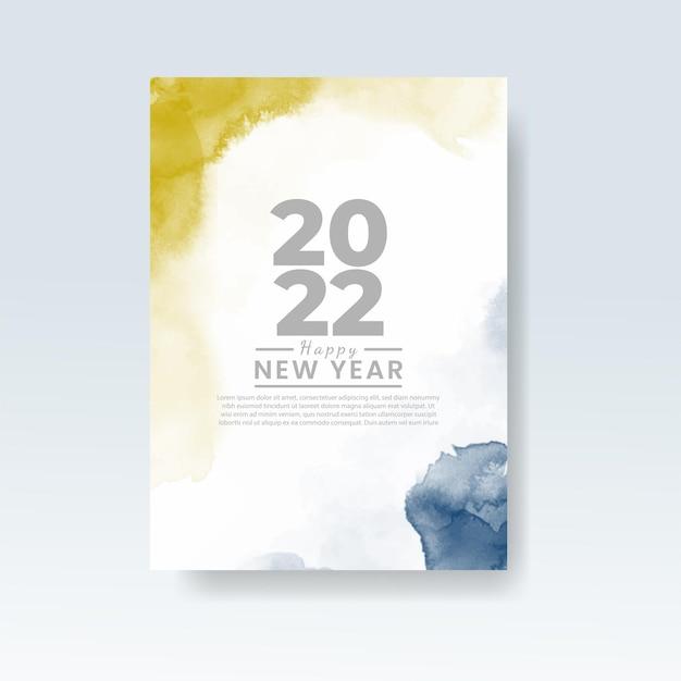 Gelukkig nieuwjaar 2022 banner of kaartsjabloon met aquarel wasplons