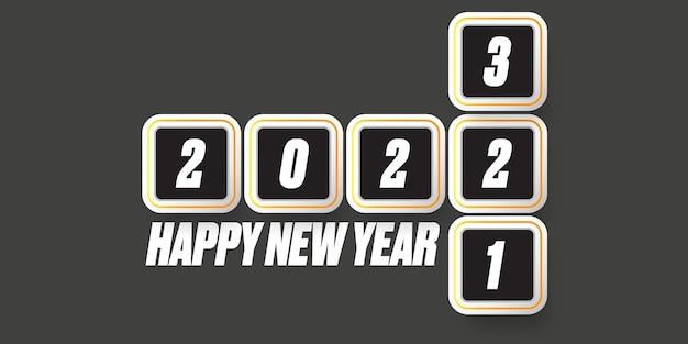 Gelukkig nieuwjaar 2022 banner ontwerpsjabloon met aftellen