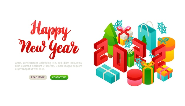 Gelukkig nieuwjaar 2022 belettering banner. vectorillustratie van wintervakantie isometrie.