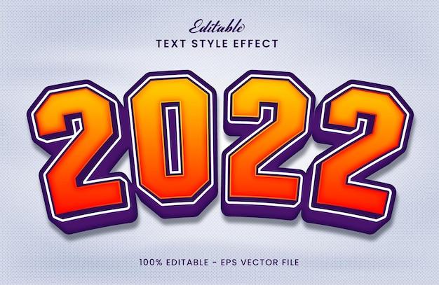 Gelukkig nieuwjaar 2022 bewerkbaar teksteffect premium vector
