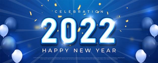 Gelukkig nieuwjaar 2022 bewerkbaar tekstnummer op blauwe achtergrond